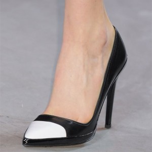 Black and White Stiletto Heels Pumps