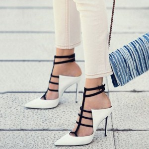 Women's White Strappy Heels Pointy Toe Stiletto Heel Pumps
