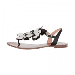 Black and White Thong Sandals Open Toe Flat Sandals