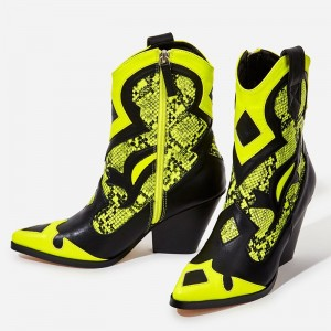 Black and Yellow Python Cowgirl Boots Block Heel Mid Calf boots