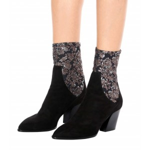 Black Ankle Booties Flowers Embroidered Block Heels Boots for Women