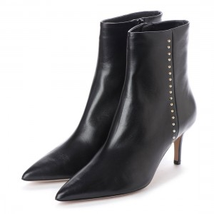 Black Ankle Booties Studs Shoes Pointy Toe Stiletto Boots
