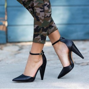 Black Ankle Strap Heel Pointy Toe Cone Heel Pumps