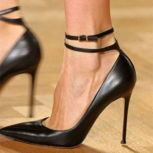 Black Vegan Sexy Heels Pointy Toe Stiletto Heel Ankle Strap Pumps