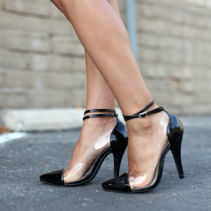 Black Ankle Strap Heels Pointy Toe Stilettos Pumps Transparent Shoes