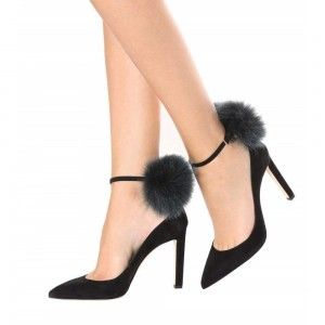 Black Ankle Strap Heels Suede Stiletto Heel Pumps with Fluffy Ball