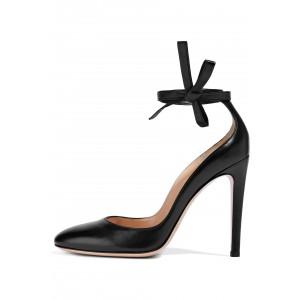 Black Ankle Strap Heels Tie Stiletto Heel Pumps
