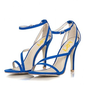 Women's Blue Ankle Strap Sandals Open Toe Stiletto Heels US Size 3-15