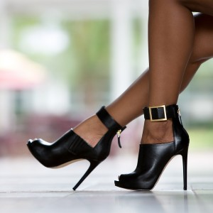 Black Ankle Strap Peep Toe Booties Cut out Stiletto Heel Ankle Boots