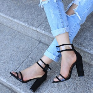Black Ankle Strap Sandals Clear Open Toe Block Heels