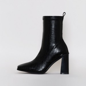 Black Bamboo Chunky Heel Boots Pointy Toe Mid Calf Boots