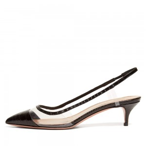 Black Bamboo Grain Patent Leather Clear Kitten Heel Slingback Pumps