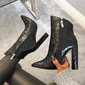 Black Bamboo Chunky Heel Boots Pointy Toe Ankle Booties