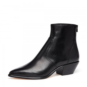Black Block Heel Ankle Booties