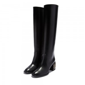 Black Block Heel Boots Knee High Boots