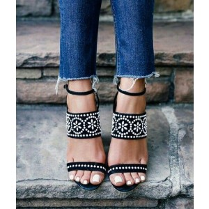 Black Block Heel Sandals Open Toe White Floral Slingback Sandals