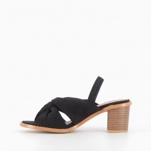 Black Block Heel Sandals Slingback Heels Suede Comfortable Sandals