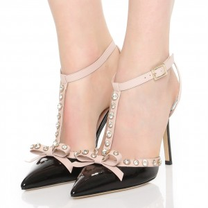 Black Bow Rhinestones Stiletto Heel T Strap Pumps