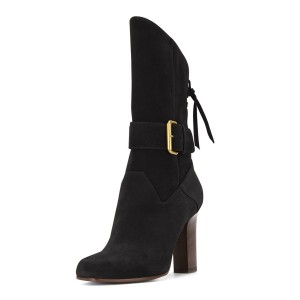 Black Suede Square Toe Boots Back Lace up Chunky Heel Mid Calf Boots