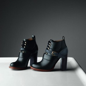 Black Buckle Lace Up Chunky Heel Boots