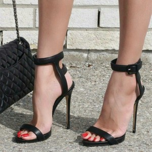 Black Buckle Open Toe Slingback Heels Stilettos Ankle Strap Sandals