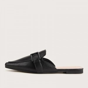 Black Buckle Pointed Toe Loafer Mules