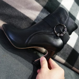 Black Buckle Rhinestone Spool Heel Ankle Booties