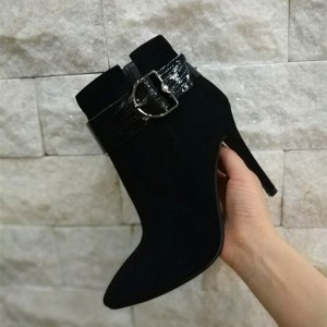 Black Buckle Stiletto Heel Ankle Booties For Women