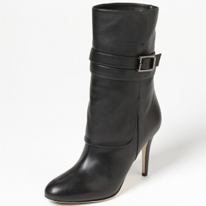 Black Buckle Stiletto Heels Ankle Boots Round Toe Comfortable Booties
