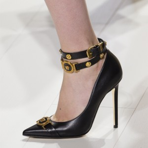Black Buckles Ankle Strap Heels Pointy Toe Pumps