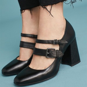 Black Buckles Mary Jane Shoes Square Toe Block Heels Pumps