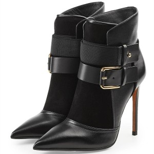 Black Buckles Stiletto Heel Ankle Booties