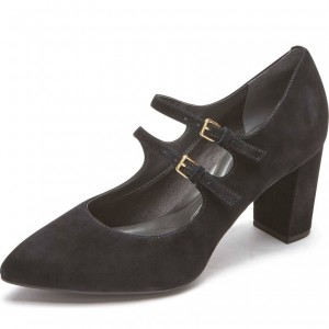 Black Buckles Suede Chunky Heels Pointy Toe Mary Jane Pumps