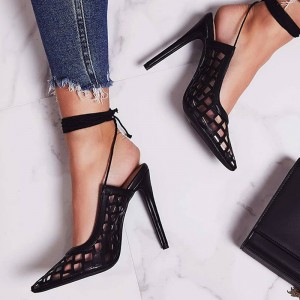 Black Caged Ankle Strap Stiletto Heel Slingback Pumps