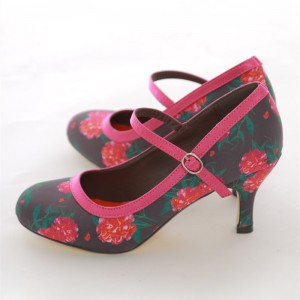 Pink Camellias Mary Jane Pumps Vintage Style Floral Heels