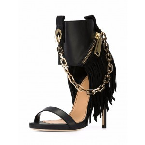 Black Fringe Sandals Open Toe Chain Stiletto Heel Sandals