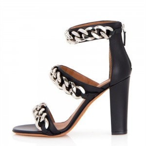Black Chains Chunky Heel Ankle Strap Sandals