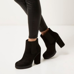 Black Python Chelsea Boots Round Toe Chunky Heels Ankle Platform Boots