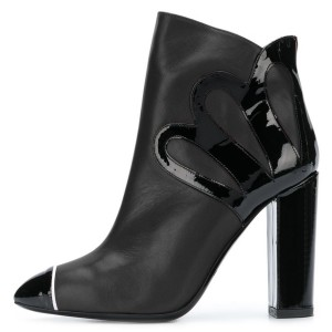 Black Chunky Heel Boots Fashion Ankle Booties