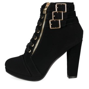 Black Buckle Boots Chunky Heel Front Lace up Ankle Boots