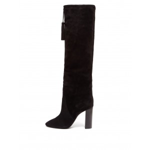 Black Chunky Heel Boots Suede Tassel Knee-high Boots
