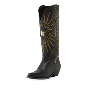 Black Chunky Heels Boots Embroidery Pointy Toe Knee High Cowgirl Boots