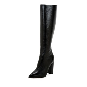 Black Chunky Heel Boots Pointy Toe Knee High Boots