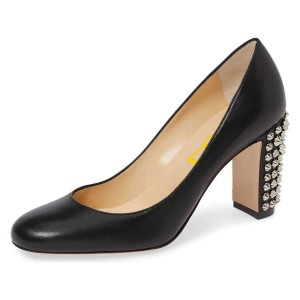 Black Chunky Heels Pumps with Studs