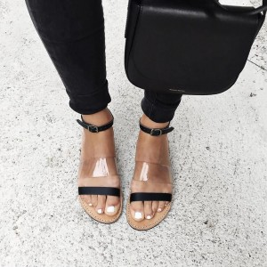 Black Clear Beach Sandals Ankle Strap Open Toe Summer Flat Sandals