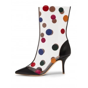 Black Clear Colorful Dots Stiletto Heel Ankle Booties