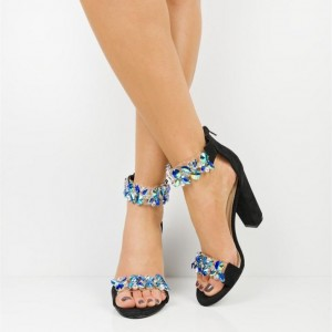 Black Clear Heels Jeweled Sandals Open Toe Chunky Heel Sandals
