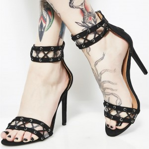 Black Clear Heels Open Toe Stiletto Heels Ankle Strap Sandals