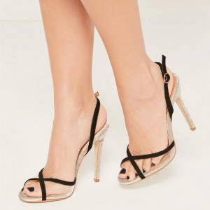 Black Clear Heels Peep Toe Stiletto Heels Slingback Sandals