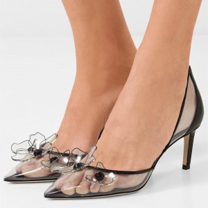 Black Clear Heels PVC Flower Stiletto Heel Pumps